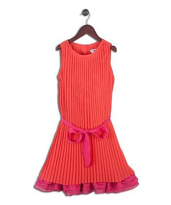 Joe-Ella Orange & Fuchsia Pleated Dress - Girls