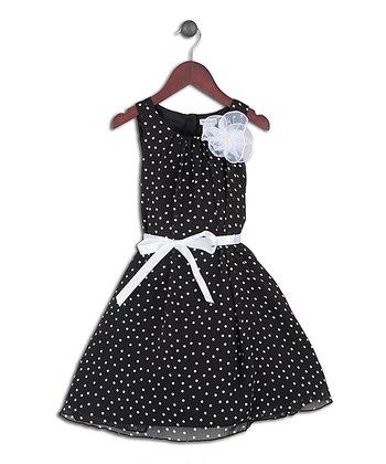 Joe-Ella Black Polka Dot Rosette Dress - Girls