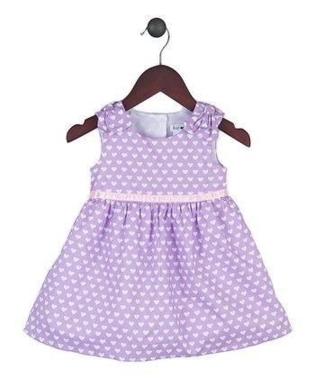 Joe-Ella Lilac Heart Bow Shoulder Dress - Infant, Toddler & Girls
