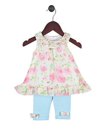 Joe-Ella Pink Floral Ruffle Dress & Blue Leggings - Infant