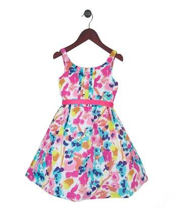 Joe-Ella Pink & Aqua Abstract Floral A-Line Dress - Toddler & Girls