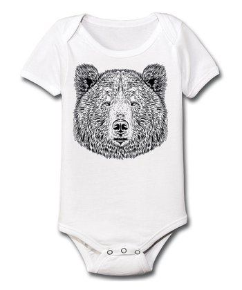 White & Black Bear Bodysuit - Infant