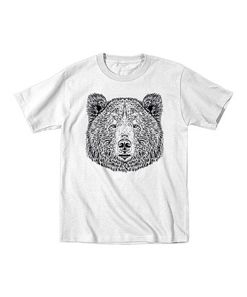 White & Black Bear Tee - Toddler & Kids