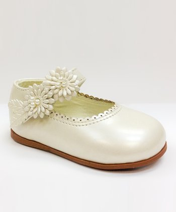 Josmo Beige Pearl Floral Scallop Mary Jane