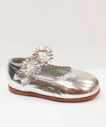 Josmo Silver Floral Scallop Mary Jane
