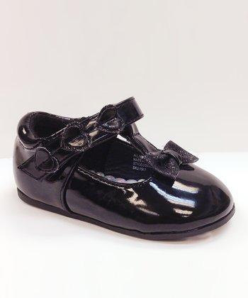 Josmo Black Patent Heart Bow T-Strap Shoe