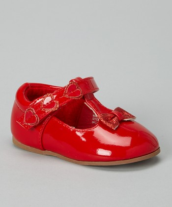 Josmo Red Patent Heart Bow T-Strap Shoe