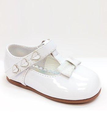 Josmo White Patent Heart Bow T-Strap Shoe