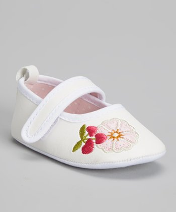 Laura Ashley White Floral Embroidered Mary Jane