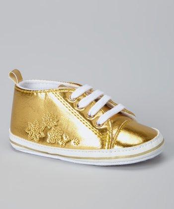 Laura Ashley Gold Metallic Snowflake Sneaker