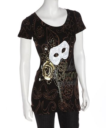 Black & Gold Mask Organic Tee - Women