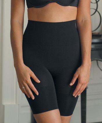 Black Mid-Rise Thigh Control Shorts - Women & Plus