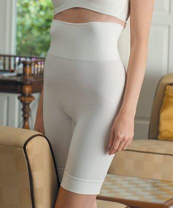 Ivory High-Waist Long Control Shorts - Women & Plus