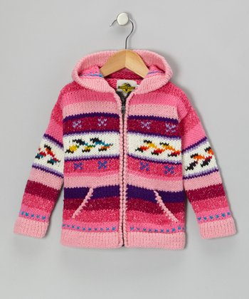 Fair Isle Pink Wool-Blend Zip-Up Hoodie - Toddler & Girls