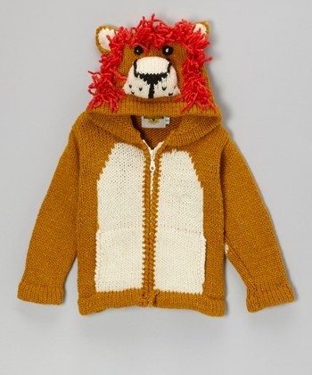 Brown Lion Wool-Blend Zip-Up Hoodie - Toddler & Kids