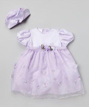 LA Sun Lavender Satin Sheer Overlay Dress - Infant, Toddler & Girls