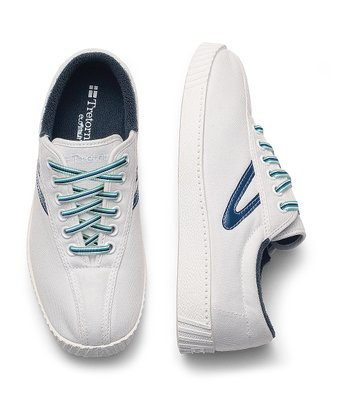 White & Estate Blue Nylite Sneaker - Junior
