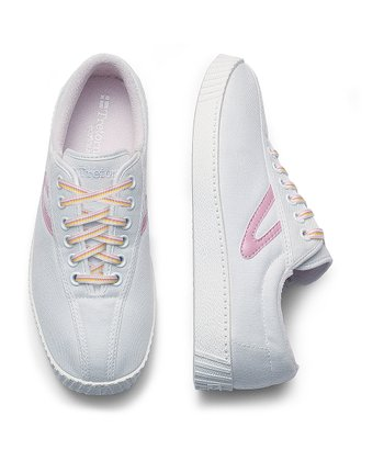 White & Sea Pink Nylite Sneaker - Junior