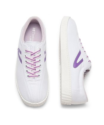 White & Hyacinth Nylite Sneaker - Junior