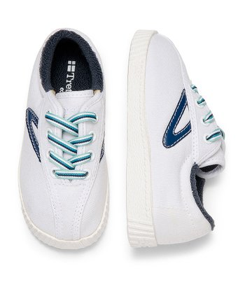 White & Estate Blue  Nylite Sneaker - Infant