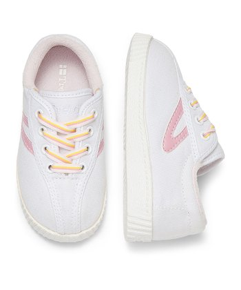 White & Sea Pink Nylite Sneaker - Infant