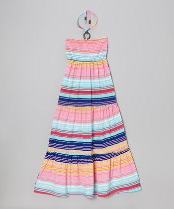 Powder Teal & Fuchsia Stripe Maxi Dress - Toddler & Girls