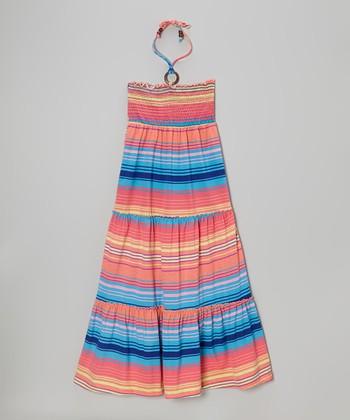 Fab Fuchsia & Blue Stripe Maxi Dress - Toddler & Girls
