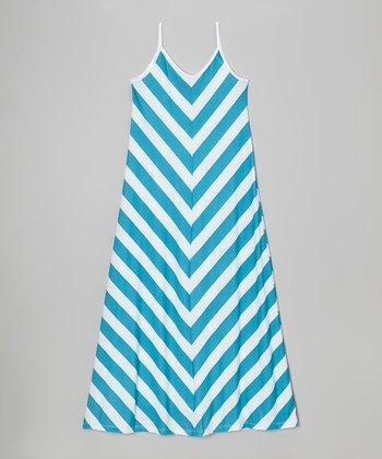 Aqua & White Chevron Maxi Dress - Girls