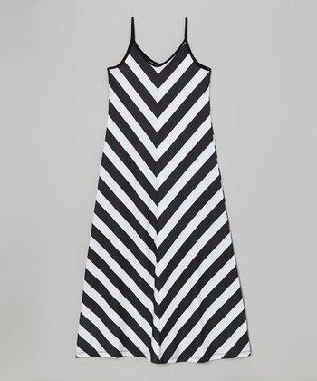 Black & White Chevron Maxi Dress - Girls