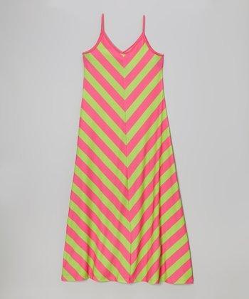 Hot Pink & Citrus Lime Chevron Maxi Dress - Girls
