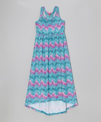 Powder Teal & Pink Ikat Maxi Dress - Infant, Toddler & Girls