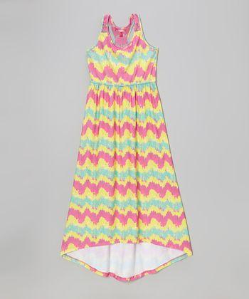 Bubblegum & Yellow Ikat Maxi Dress - Infant, Toddler & Girls