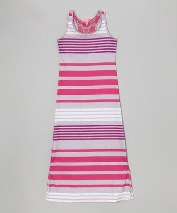 Fab Fuchsia Stripe Side Slit Maxi Dress - Toddler & Girls
