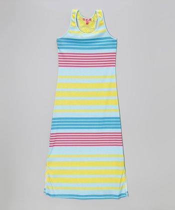 Sunshine Yellow Stripe Side Slit Maxi Dress - Toddler & Girls