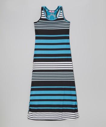 Aqua & Black Stripe Side Slit Maxi Dress - Toddler & Girls