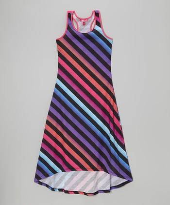 Purple Diagonal Stripe Racerback Maxi Dress - Toddler & Girls