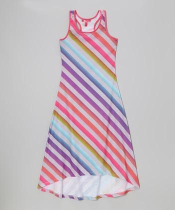 Rainbow Diagonal Stripe Racerback Maxi Dress - Toddler & Girls