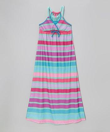 Cool Mint Stripe Braided Strap Maxi Dress - Toddler & Girls