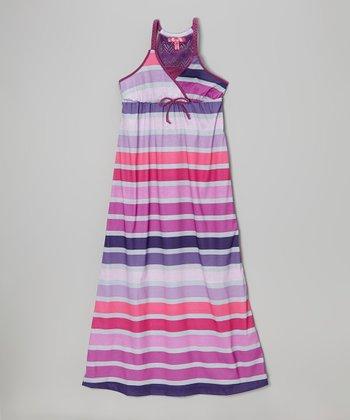 Purple Pop Stripe Braided Strap Maxi Dress - Toddler & Girls
