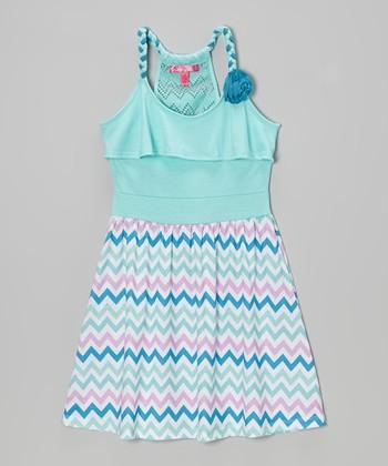 Cool Mint Zigzag Y-Back Dress - Toddler & Girls