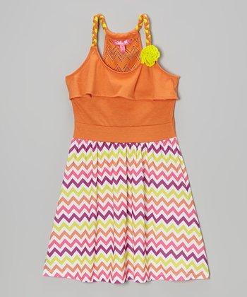 Orange Crush Zigzag Y-Back Dress - Toddler & Girls