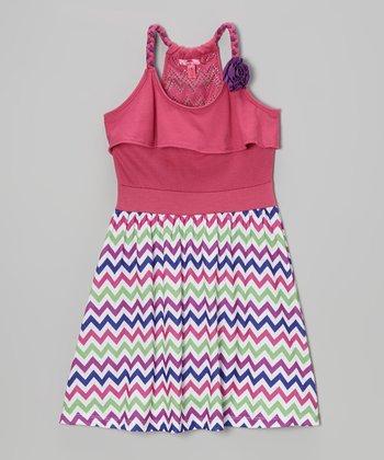 Fab Fuchsia Zigzag Y-Back Dress - Toddler & Girls