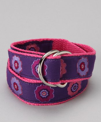 Flower Power Purple D-Ring Belt