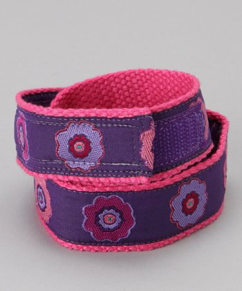 Flower Power Purple Velcro Belt