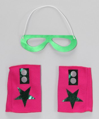 Lime Green & Fuchsia Hero Mask & Cuffs