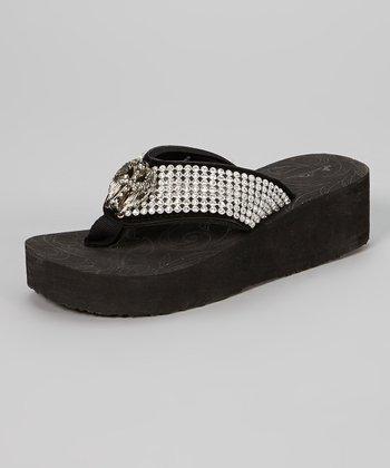Black Bejeweled Platform Flip-Flop