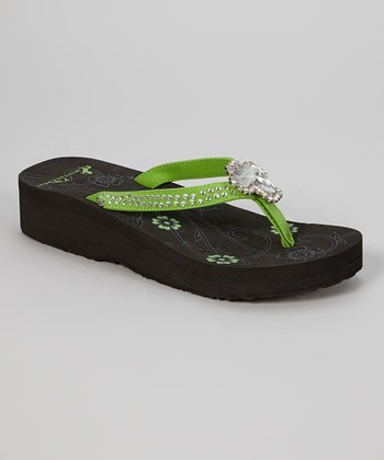 Black & Lime Cross Pendant Platform Flip-Flop