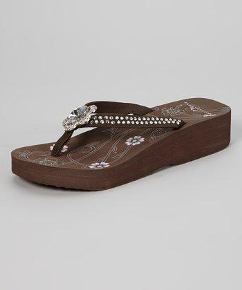 Brown Pendant Platform Flip-Flop
