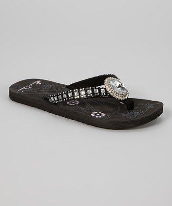 Black Oval Pendant Flip-Flop