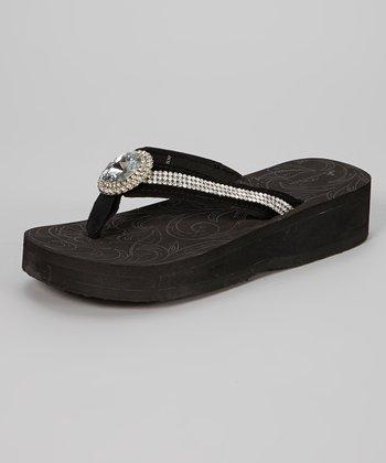Ebony Jewel Pendant Platform Flip-Flop